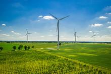 Big Wind Turbine On Field In S...