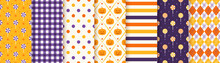 Halloween Pattern. Seamless Haloween Background. Vector. Textile Print With Pumpkin, Candy, Polka Dot, Rhombus, Stripe. Geometric Texture, Wrapping Paper. Orange Yellow Purple Illustration