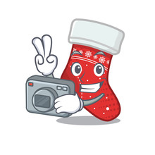 Photographer Christmas Stocking Character Shaped In Cartoon