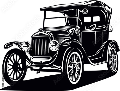Classic vector retro vintage custom car design Tablou Canvas