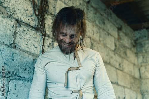 Horror For Halloween Holiday Crazy Man In A Dirty Measuring Shirt Canvas Print