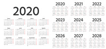 Calendar Spanish 2020, 2021, 2022, 2023, 2024, 2025, 2026, 2027, 2028 Years. Vector. Week Starts Monday. Stationery Calender Template In Minimal Design. Yearly Organizer. Business Illustration.