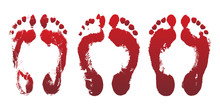 Set Of Bloody Red Horror Foot Prints. Mark Human Leg, Dirty Grunge Foot Print. Design Element For Halloween Decoration.