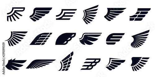Fototapeta Silhouette wing icons. Bird wings, fast eagle emblem and decorative ornament angel wing stencil. Black tattoo sketch, airport logo or victory insignia. Isolated symbols vector bundle obraz
