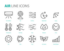 Set Of Air Icons, Air Conditio...