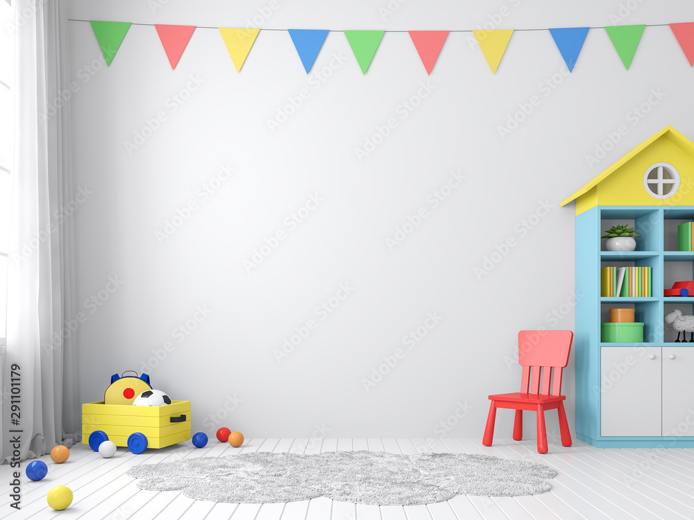 Fototapety, obrazy: The playroom 3d render has white walls and floors decorated with colorful furniture.The walls are decorated with colorful triangular flags, natural light shines into the room.