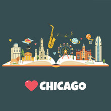 Chicago City Poster With Landmarks And Symbols