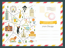 Chicago Card With Symbols, Obj...