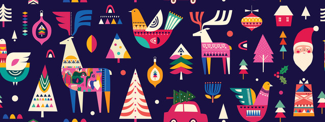 Christmas seamless pattern in Scandinavian folk style with deer, Christmas tree, bird