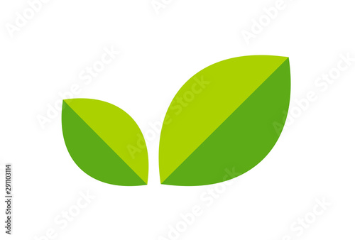 Fototapeta Logo with leaves, Green Foliage Icon in a minimalist style. Vector illustration for eco natural product isolated on white background. Tea sign for website or store. obraz na płótnie