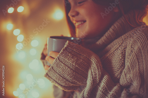 Fotografie, Tablou  girl child in sweater with cup, cozy , toning