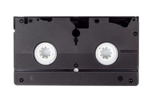 Single Old Vintage Black Blank VHS Video Cassette Isolated On White, Back Side. Retro Technology, Vcr, Outdated Obsolete Vhs Tape, Tech Items From The 80s And 90s. One Videotape On White, Hq Closeup