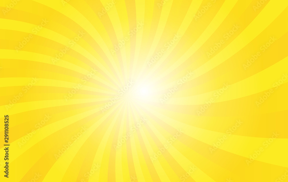 Fototapeta Yellow sunshine vector background. colorful wallpaper for template business social media advertising. Modern style backdrop. Sunburst with light.