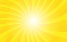 Yellow Sunshine Vector Background. Colorful Wallpaper For Template Business Social Media Advertising. Modern Style Backdrop. Sunburst With Light.