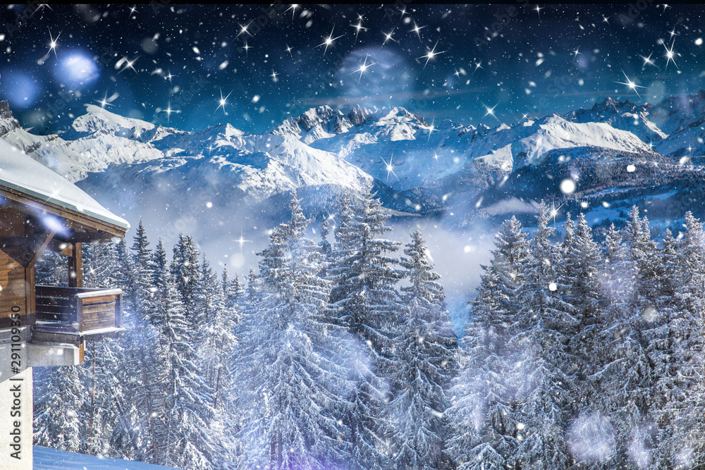 Fototapeta Beautiful view of mountains and snowy fir trees in wintertime.