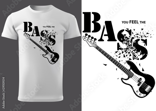 Fotomural  T-shirt with Musical Slogan with Fragmented Inscription and Bass Guitar - Modern