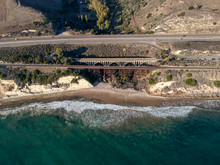 Aerial View Of Arroyo Hondo Bridge On PCH Highway 1