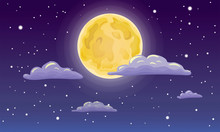 Vector Full Moon, Stars, And Clouds On The Dark Midnight Sky. Night Sky Scenery Background. Cartoon Full Moon On Dark Starry Night Sky With Clouds. Illustration Of Moon, Stars Clouds On Midnight Sky.