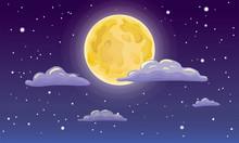 Vector Full Moon, Stars, And C...