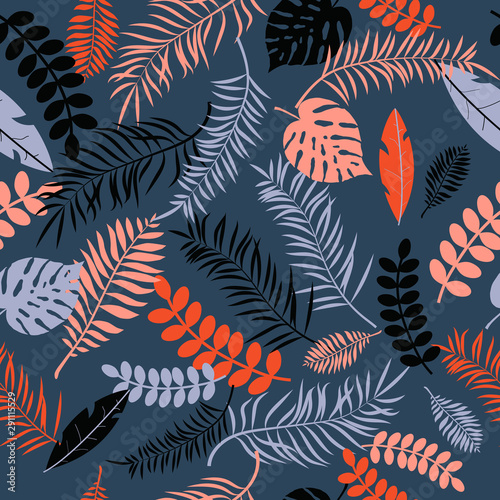 Tropic seamless pattern with color leaves Wall mural