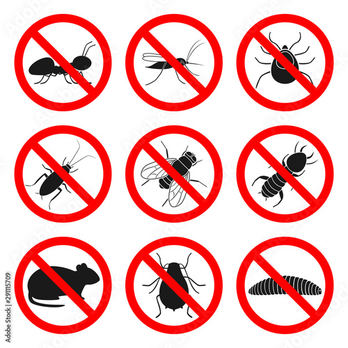 Pest control signs. Repellent and insecticide symbols. Vector. Wallpaper Mural