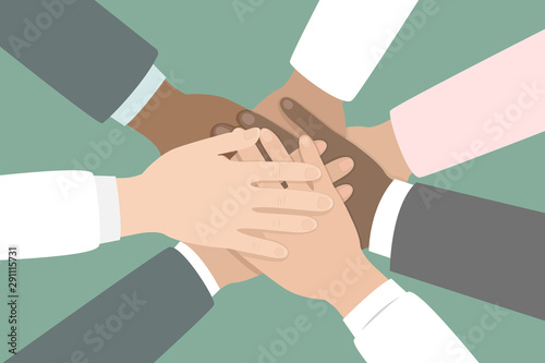 Unity of different nations. Hand on hand. Vector illustration. Fototapeta