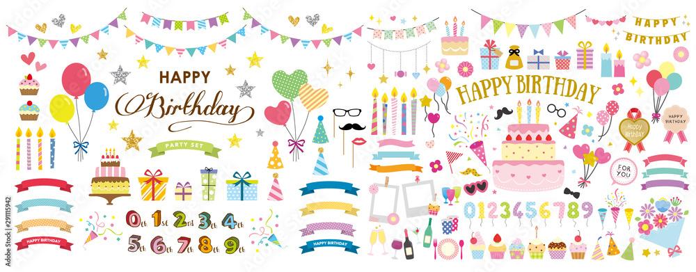 Fototapeta happy birthday party card and decoration vector set