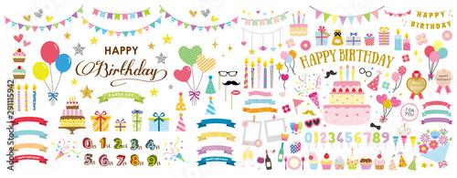 Fotografía  happy birthday party card and decoration vector set