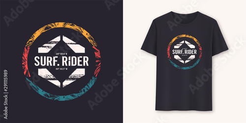 Fotomural  Surfrider stylish graphic tee vector design, print