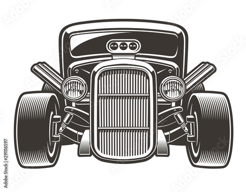 Vector illustration of hot rod in full face Wallpaper Mural