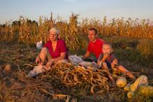 Family Of Farmers In Autumn,fa...