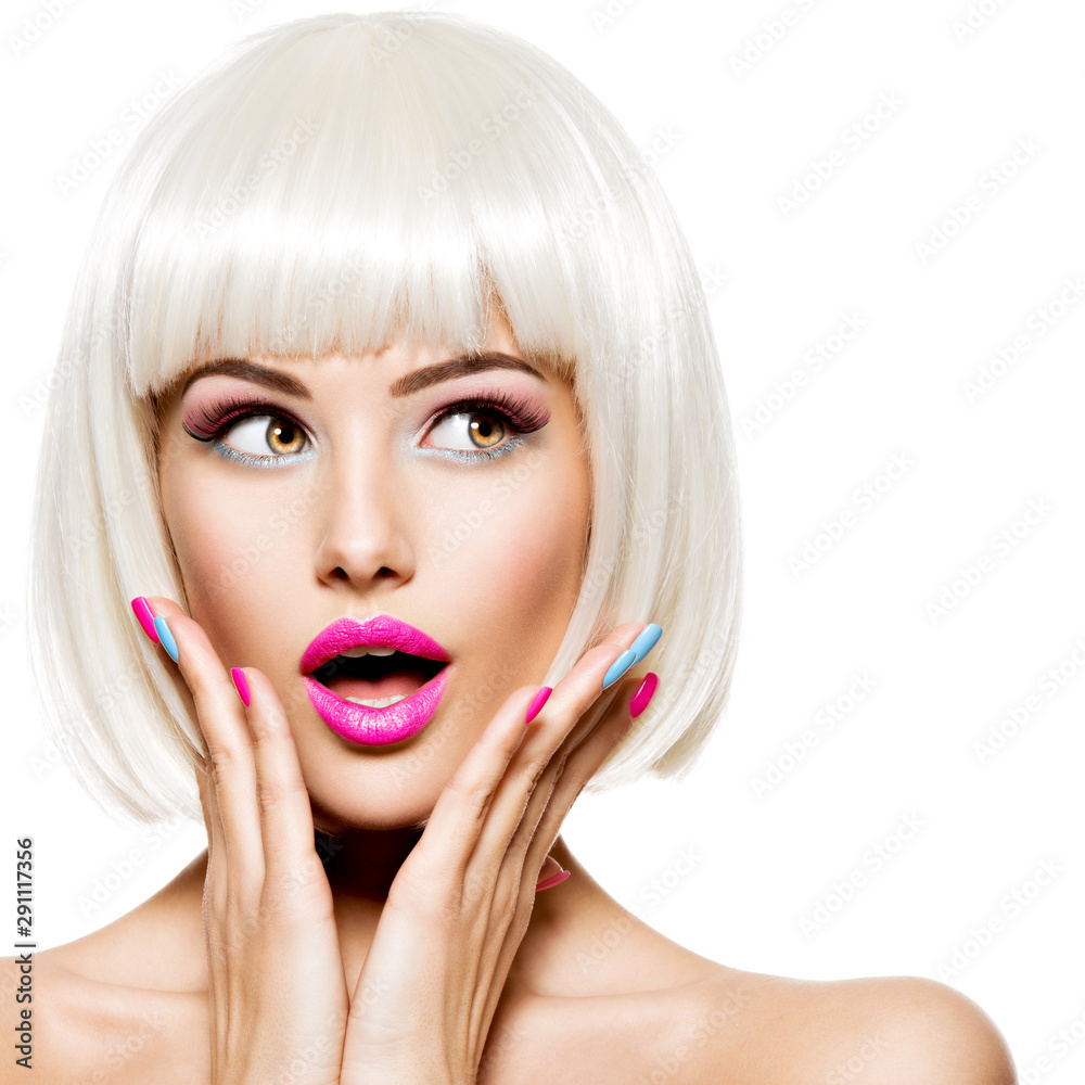 Fototapeta Surprised face of a pretty woman  with white hairs and multicolor nails