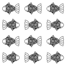 Vector Line And Drawing Fish Pattern