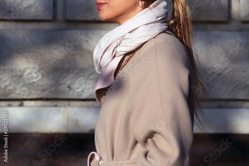 Fototapeta Young woman in autumn coat. Neck scarf obraz na płótnie