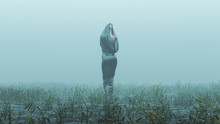 Black Cloaked Draped Futuristic Abstract Assassin Demon Walking Away In A Foggy Watery Void With Reeds And Grass Background Back View 3d Illustration 3d Render