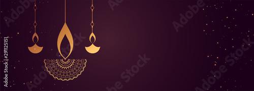 Fotografiet purple happy diwali banner with decorative diya design