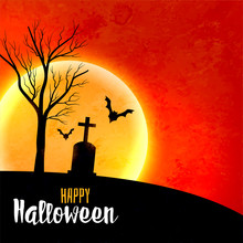 Halloween Full Moon On Red Sky Scary Background