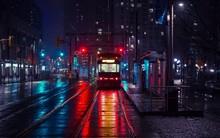 A Trolley Bus Travels To A Dar...