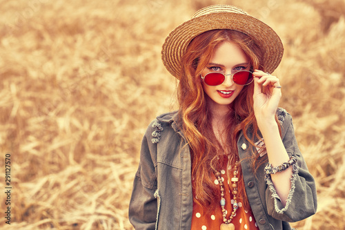 hipster girl in field