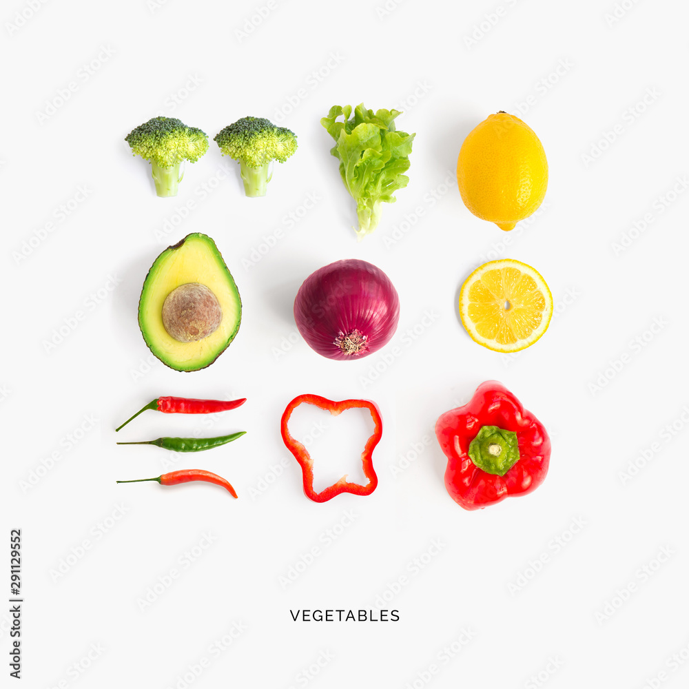 Fototapety, obrazy: Creative layout made of avocado, red pepper, chili pepper, broccoli, lettuce, onion and lemon. Flat lay. Food concept.