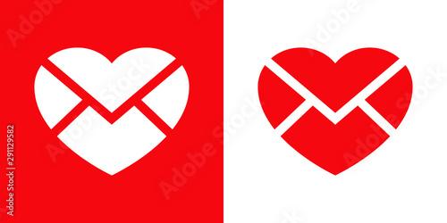 Logotipo con corazón como sobre en rojo y blanco Wallpaper Mural