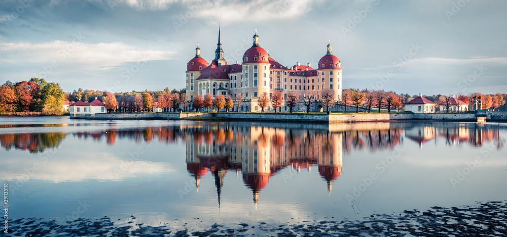 Fototapety, obrazy: Incredible morning view of Moritzburg Baroque castke. Romantic autumn scene of Saxony, Dresden location, Germany, Europe. Traveling concept background.