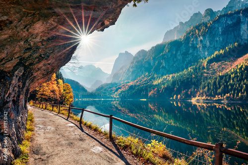 Sunny autumn scene of Vorderer ( Gosausee ) lake. Colorful morning view of Austrian Alps, Upper Austria, Europe. Beauty of nature concept background. - fototapety na wymiar