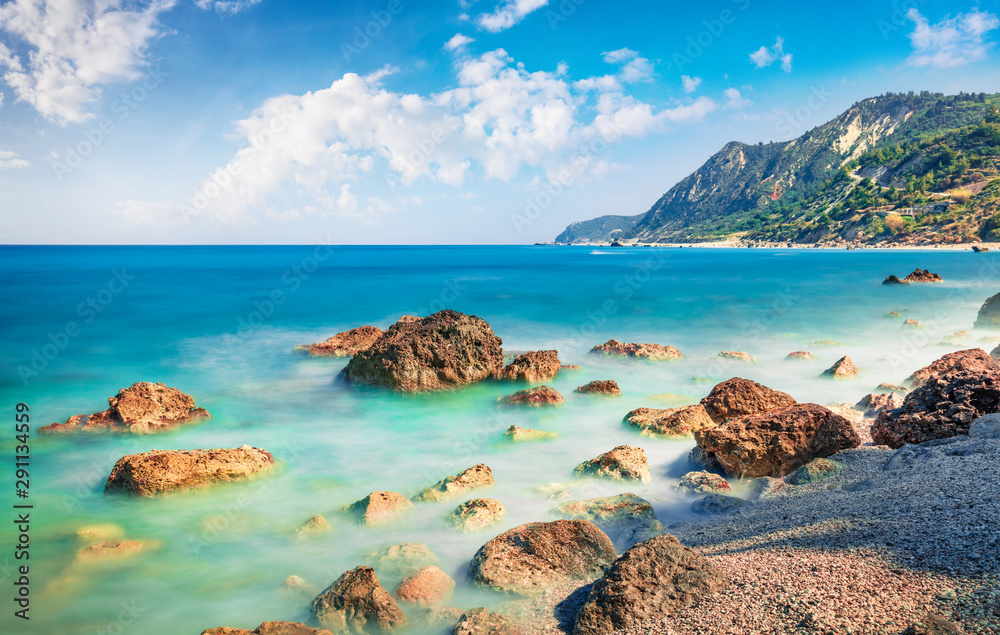 Fototapety, obrazy: Incredible spring view of Avali Beach. Fantastic morning seascape of Ionian sea. Great outdoor scene of Lefkada Island, Greece, Europe. Beauty of nature concept background.