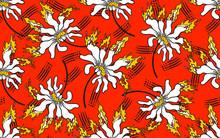Burning Daisy Seamless Pattern