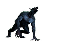 Werewolf On White Background 3D Render