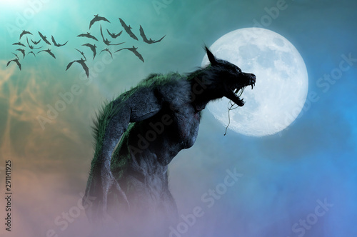 werewolf on Halloween background 3D render