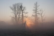 Sunrise On Jeziorka River. Bog...