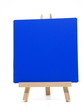 canvas print picture - Empty wooden blue board (menu board) isolated on white background.