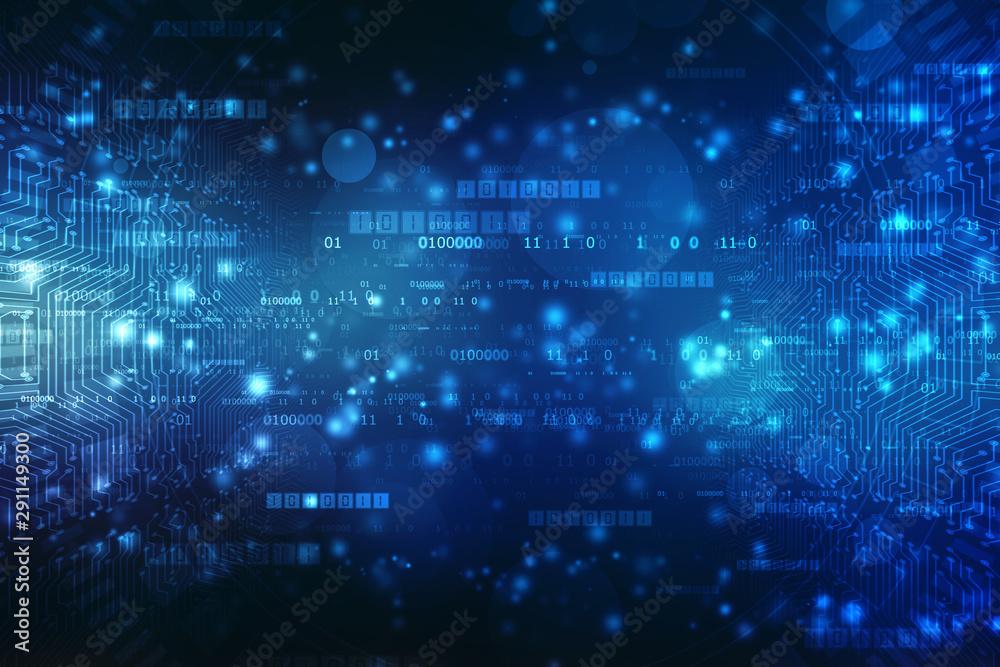 Fototapety, obrazy: Internet binary data code computing or transmission process,Internet data transmission, Binary Code Background, Digital Abstract technology background